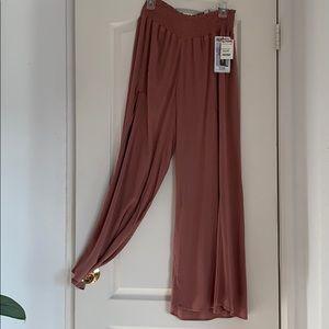 Dusty pink REWASH Wide Leg Palazzo Pants w/ Slit